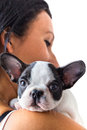 Beautiful woman with puppy french bulldog Royalty Free Stock Photography