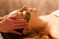 Beautiful woman receiving a facial massage in a spa young women Royalty Free Stock Photo