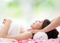 Beautiful woman receiving massage Royalty Free Stock Photo