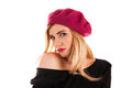 Beautiful woman in a red beret Royalty Free Stock Photo