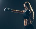 Beautiful woman with the red boxing gloves,black Royalty Free Stock Photo