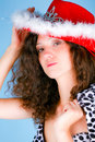 Beautiful woman in red hat Stock Image