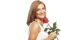 Beautiful woman with red rose isolated on white Royalty Free Stock Images