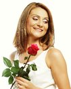 Beautiful woman with red rose isolated on white Royalty Free Stock Photos