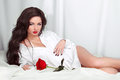 Beautiful woman with red rose posing Stock Photos