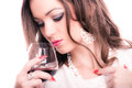 Beautiful woman with red wine Images stock