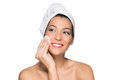 Beautiful woman removing make up beauty portrait of smiling washes her face with towel on head isolated on white background Stock Photography