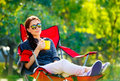 Beautiful woman resting outdoors Royalty Free Stock Photo