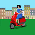 Beautiful woman riding scooter in the city. Vector illustration Royalty Free Stock Photo