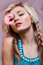 Beautiful woman with rose Stock Photography