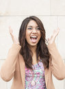 Beautiful woman screamin of joy businesswoman screaming and surprise Stock Images