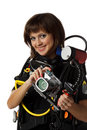 Beautiful woman scuba diver Stock Image