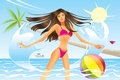 Beautiful woman in the sea going out of vector illustration Stock Photography