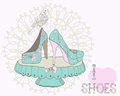 Beautiful woman shoes illustration with text i love in retro style Stock Photo