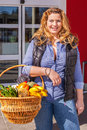 stock image of  Beautiful woman shopping for groceries