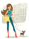 Beautiful woman shopping with little dog her toy terrier Royalty Free Stock Image
