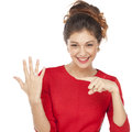 Beautiful woman showing her engagement ring young Royalty Free Stock Photos