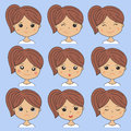 Beautiful woman showing various facial expressions. Happy, sad, angry, cry, smile. Cartoon girl icons set on
