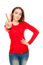 Beautiful woman showing victory sign or peace Royalty Free Stock Photos