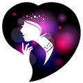Beautiful woman silhouette in heart shape Royalty Free Stock Photography