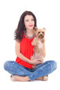 Beautiful woman sitting with his little dog yorkshire terrier is Royalty Free Stock Image