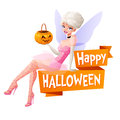 Beautiful woman sitting with pumpkin basket in fairy Halloween costume. Cartoon style vector illustration with text Royalty Free Stock Photo