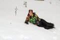 Beautiful woman in ski suit in snowy winter outdoors almaty kazakhstan asia Stock Photo