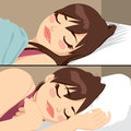 Beautiful woman sleeping brunette peacefully in two different poses Stock Photography