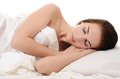 Beautiful woman sleeps in bed the a Royalty Free Stock Photos