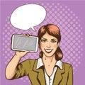 Beautiful woman with smart phone comic pop art vector illustration. Royalty Free Stock Photo