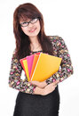 Beautiful woman smiling and carrying books isolated on white ba background Stock Photography