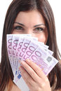 Beautiful woman smiling holding lot five hundred euro banknotes isolated white background Royalty Free Stock Photo