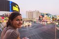 Beautiful woman smiling while sightseeing in Las Vegas Royalty Free Stock Photo