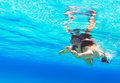 Beautiful woman snorkeling in red sea of egypt Royalty Free Stock Photo