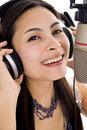 Beautiful woman in sound studio Royalty Free Stock Photos