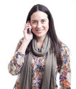 Beautiful woman speaking by mobile phone Royalty Free Stock Photo