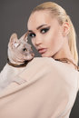 Beautiful woman with Sphynx cat.kitty girl Royalty Free Stock Photo