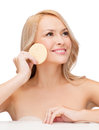 Beautiful woman with sponge health beauty and spa concept Stock Images