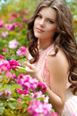 Beautiful woman in spring garden portrait of Stock Images