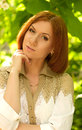 Beautiful woman in spring garden portrait of Royalty Free Stock Photo