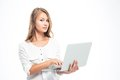 Beautiful woman standing with laptop Royalty Free Stock Photo