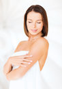 Beautiful woman standing in towel beauty spa and people concept Royalty Free Stock Images