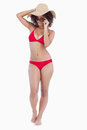 Beautiful woman standing upright in beachwear Royalty Free Stock Image