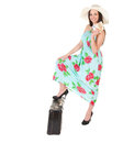 Beautiful woman in summer dress with hat case and money over white background Royalty Free Stock Photography