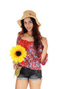 Beautiful woman with a sunflower Royalty Free Stock Photo