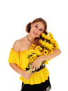 Beautiful woman with sunflowers. Royalty Free Stock Photo