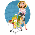Beautiful woman at supermarket Royalty Free Stock Photography