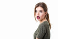 Beautiful woman is surprised. Royalty Free Stock Photo