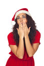 Beautiful woman surprised in Christmas Royalty Free Stock Photos