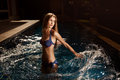 Beautiful woman in swimming pool Stock Image